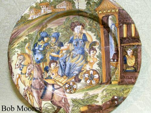 Good  Italian maiolica charger 34.5 cm wide and dated 1687
