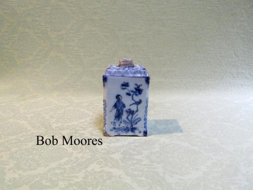 18th century delft tea caddy