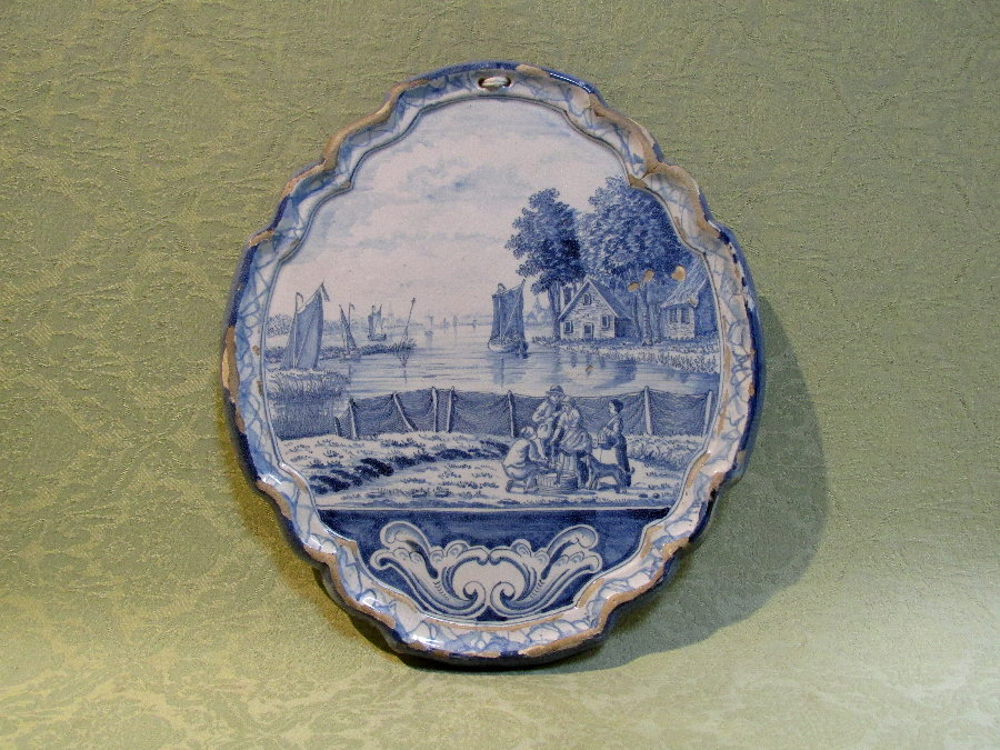Good delft wall plaque c.1770
