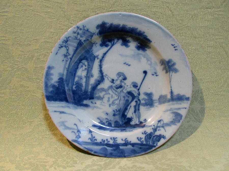 Well decorated delft plate c.1760