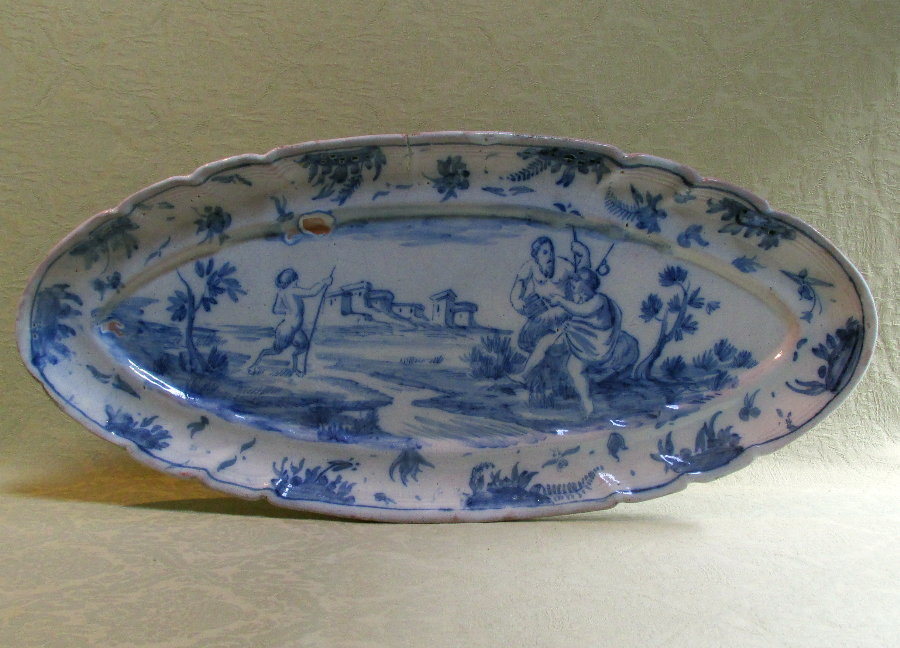 Large 19th century Continental oval faience platter