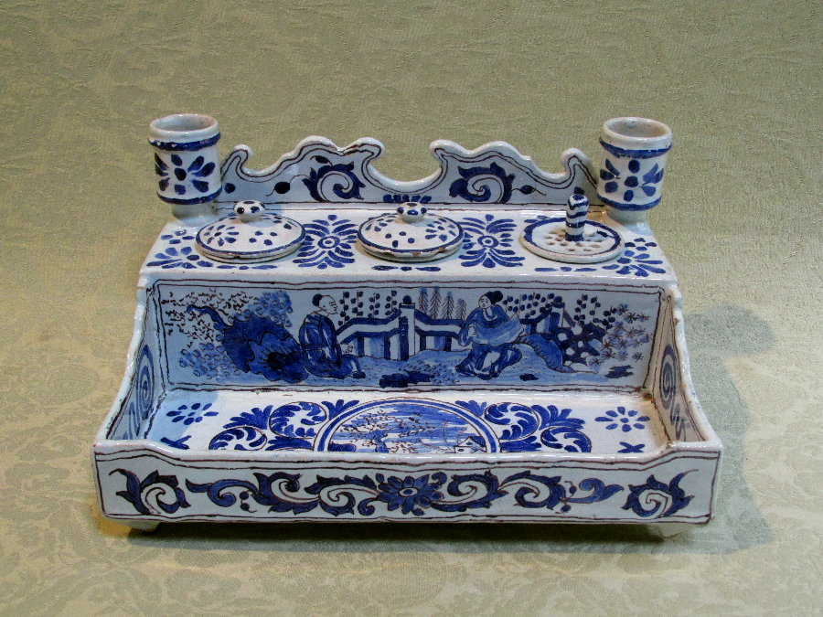 "Large 19th century continental faience desk set - 10"" wide"