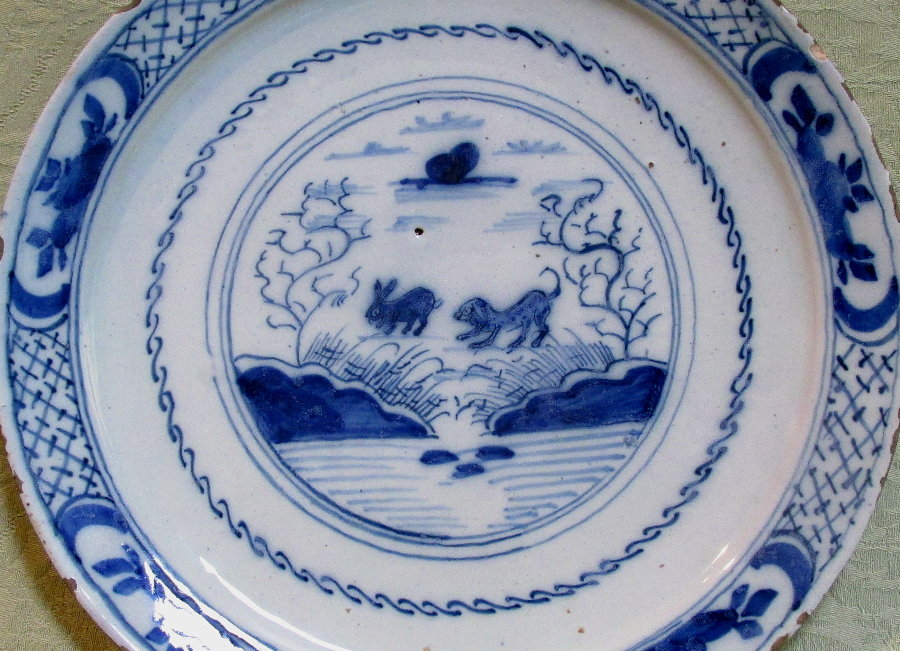 Delft plate with rabbit and dog c.1760