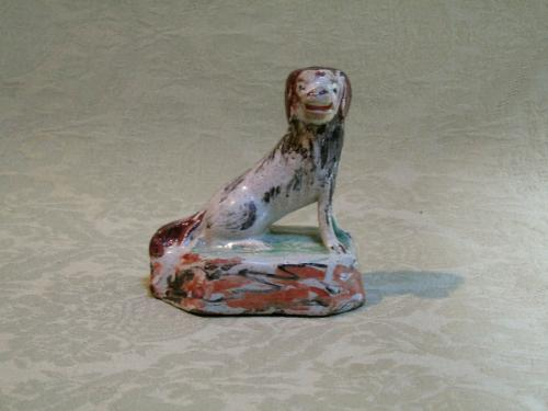 Charming delft figure of a dog c.1700