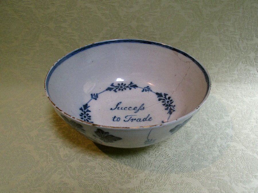 "Delft Punch bowl ""Succefs to Trade"" c.1755"