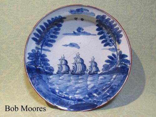 """I saw three ships a sailing"" Delft charger - 35.5cm wide c.1750"