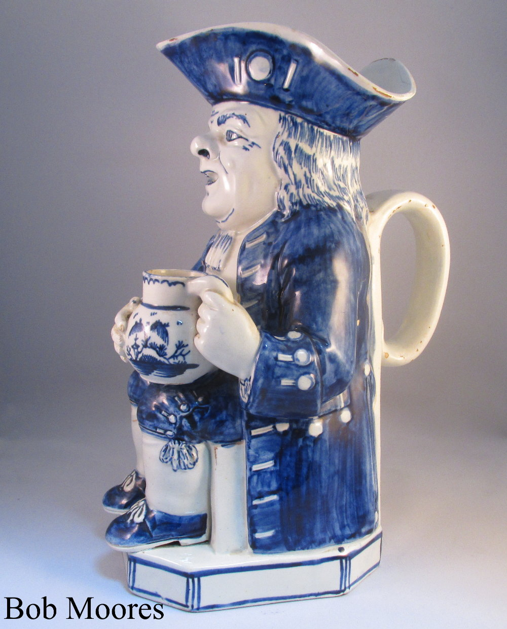 Good pearlware blue and white Toby jug Staffordshire c1790
