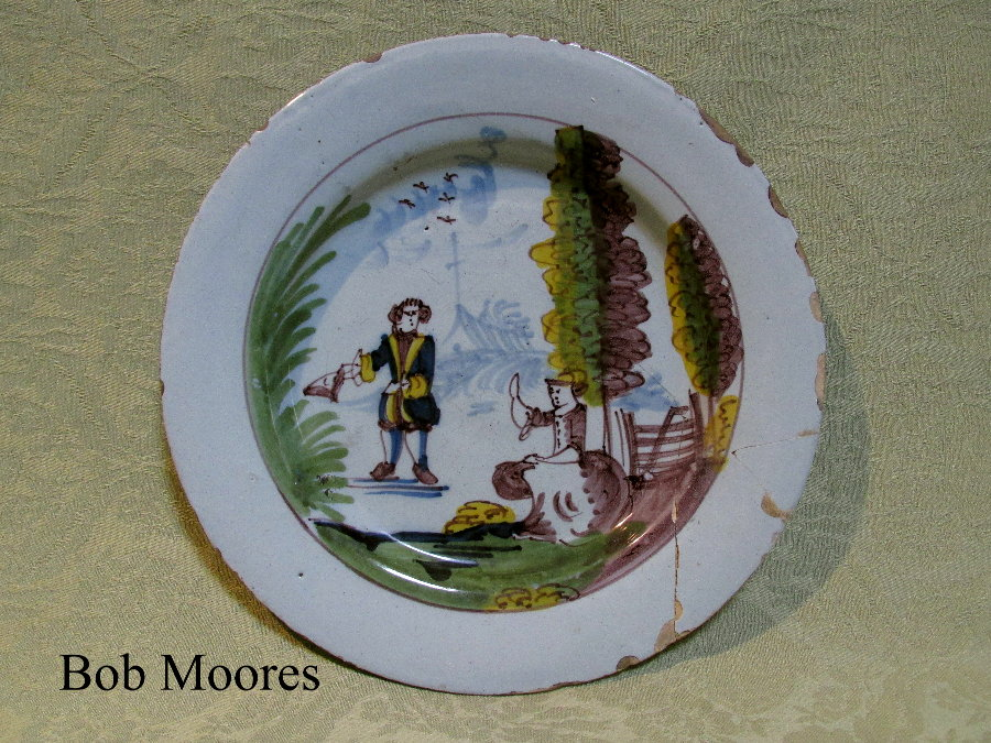 Good Liverpool polychrome delft plate c.1720