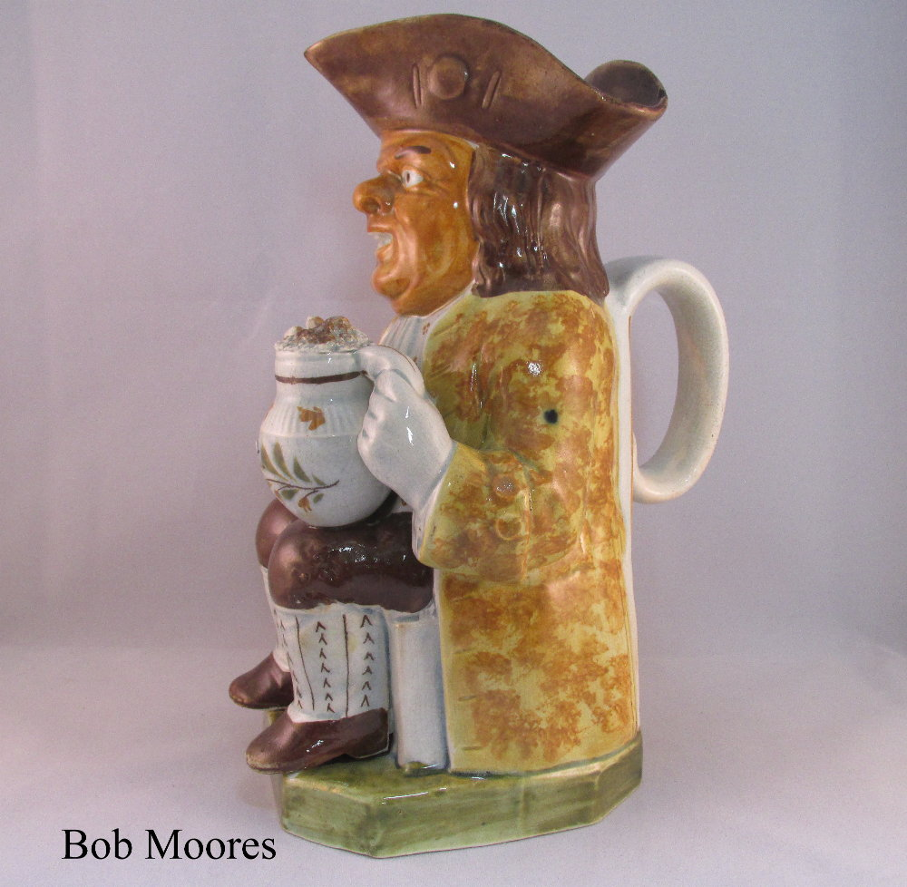 Rare and early yellow faced Toby jug Staffordshire c.1780