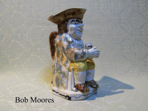 Good Prattware Toby jug with initials T. B. on small jug c.1790