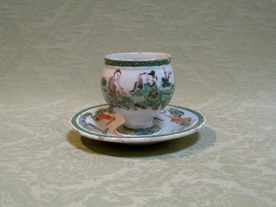 Continental  faience 18th century cup on stand