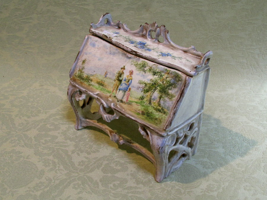 19th century tinglazed trinket box in the form of a bureaux