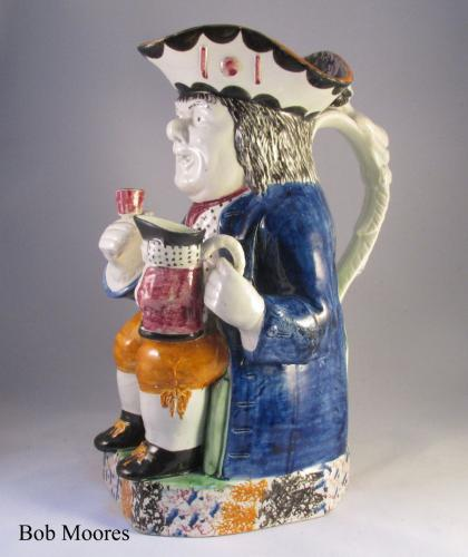 Good Mexborough Toby jug with caryatid handle Yorkshire c1800