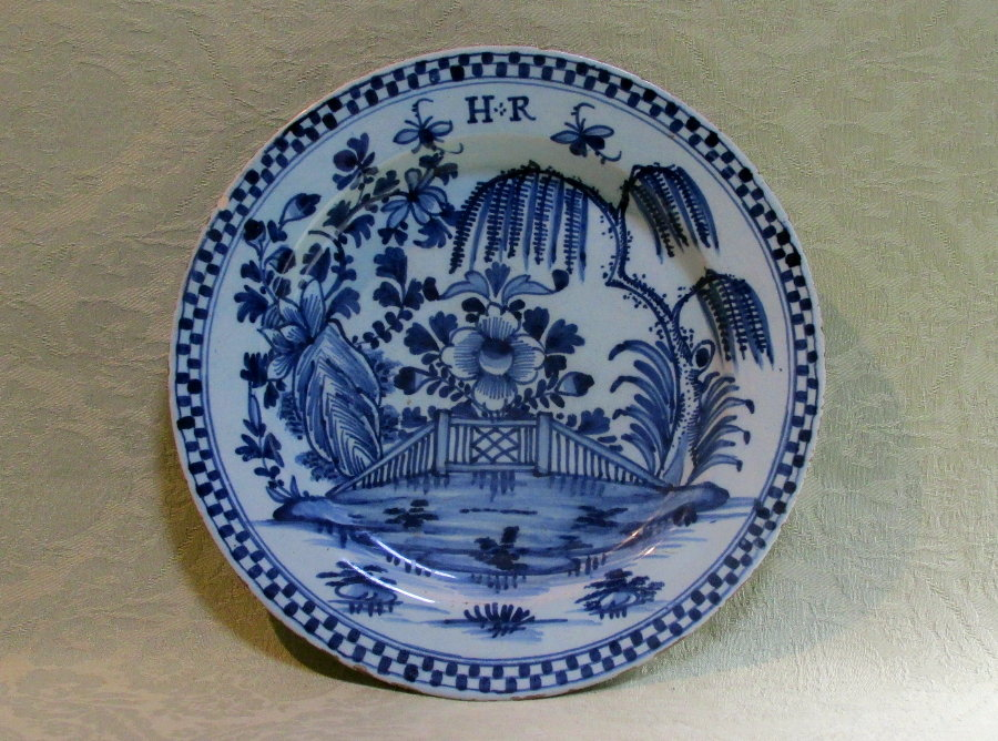 Lambeth delft plate with the initials H+R c1750  - one of a set of four (two sold)