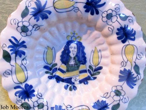 Good lobed delft Royal Charger for William 111 c.1690 34cm wide