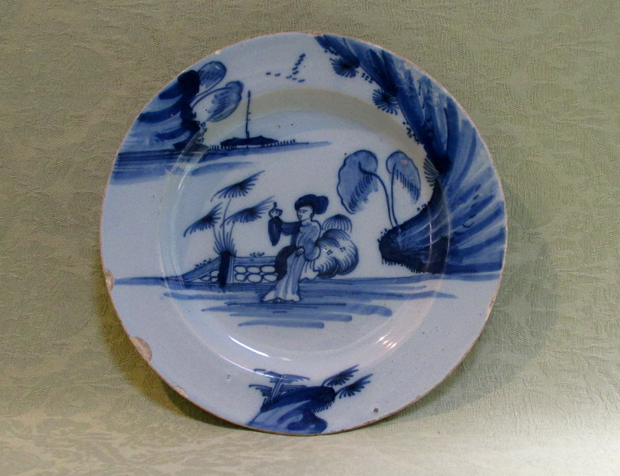 English delft plate c.1760