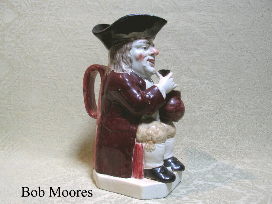 Rare Wood family raised glass 51 stamp Toby jug c.1790-1800