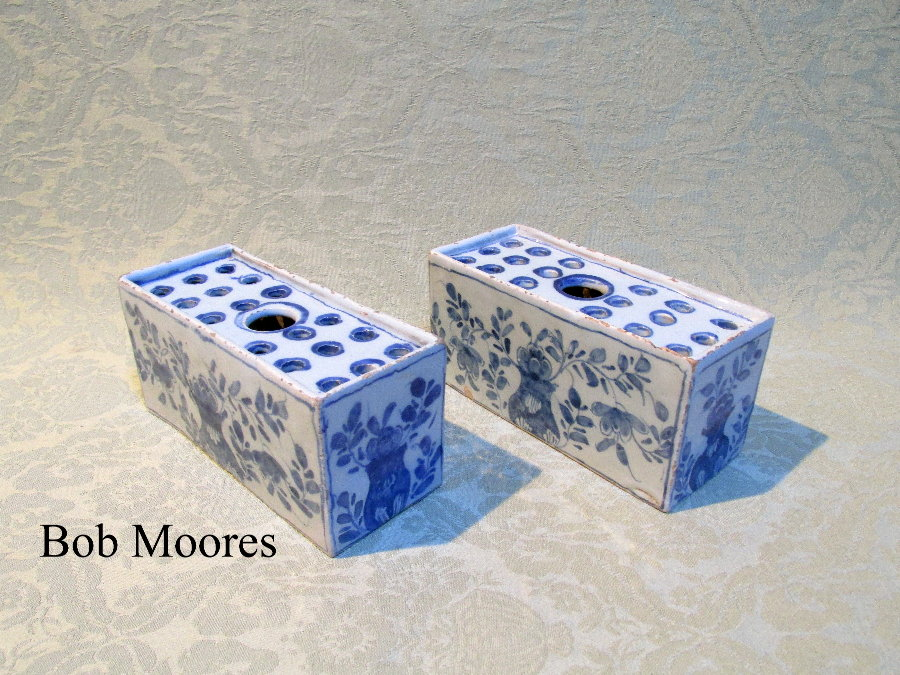 Pair of delft flower bricks c.1750