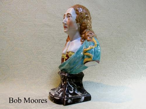 Large pearlware bust of John Milton Staffordshire c.1810