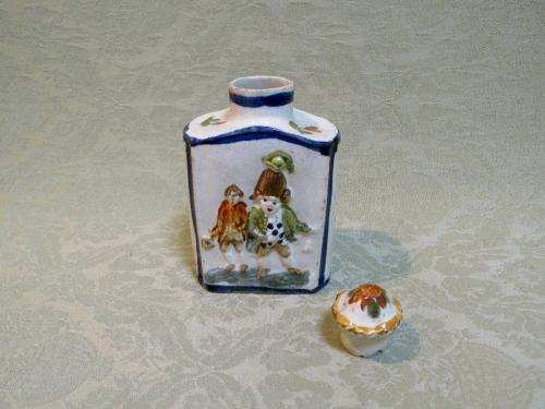 "Prattware ""Macaroni"" tea caddy and stopper Staffordshire c.1790"