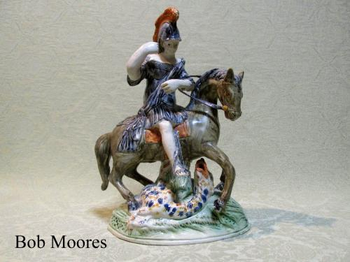 Prattware St George and the Dragon Staffordshire group c.1790
