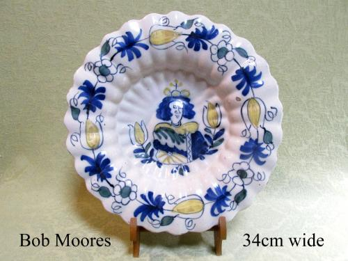Delft lobed dish commemorating Queen Anne c.1690  34cm wide