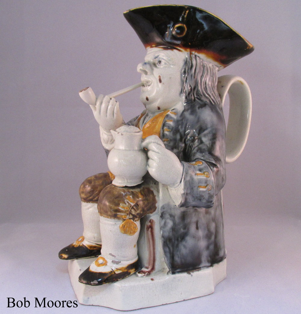 Fine raised pipe Toby jug Staffordshire c.1780