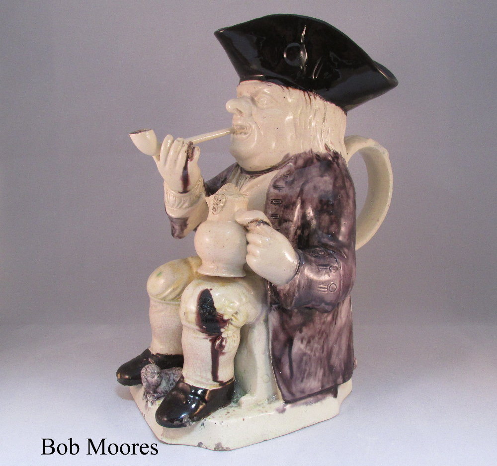 Good creamware step toby jug Staffordshire c.1780