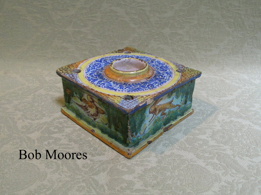 18th century Spanish faience inkwell