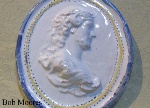 18th century faience or tinglazed oval portrait plaque