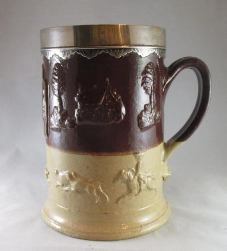 "Large silver mounted stoneware tankard c.1770 - 8 5/8"" tall"
