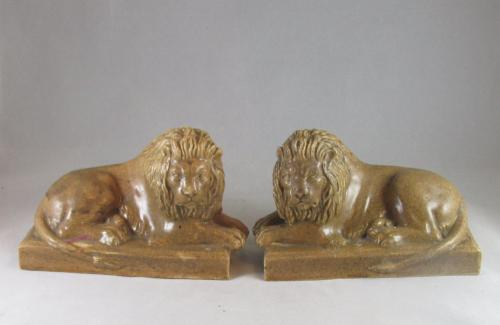 Pair of 19th century stoneware lions