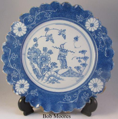 Lambeth delft scalloped edged plate c1740-50