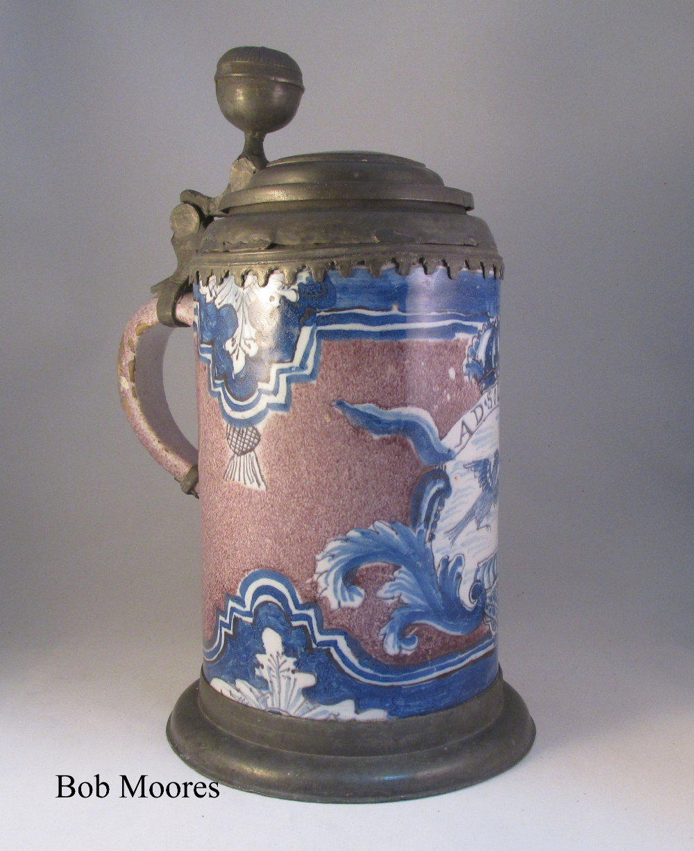 Large and impressive 18th century German faience tankard - AD SOLEM