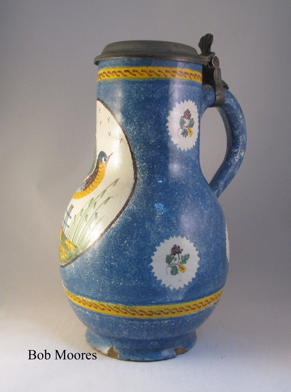 Large 18th / 19th century faience baluster tankard with initials P.S.