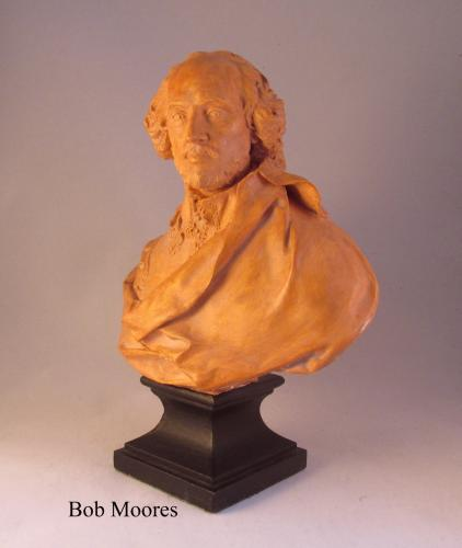 Good terracotta bust of William Shakespeare - from the collection of the late actor Rodney Bewes