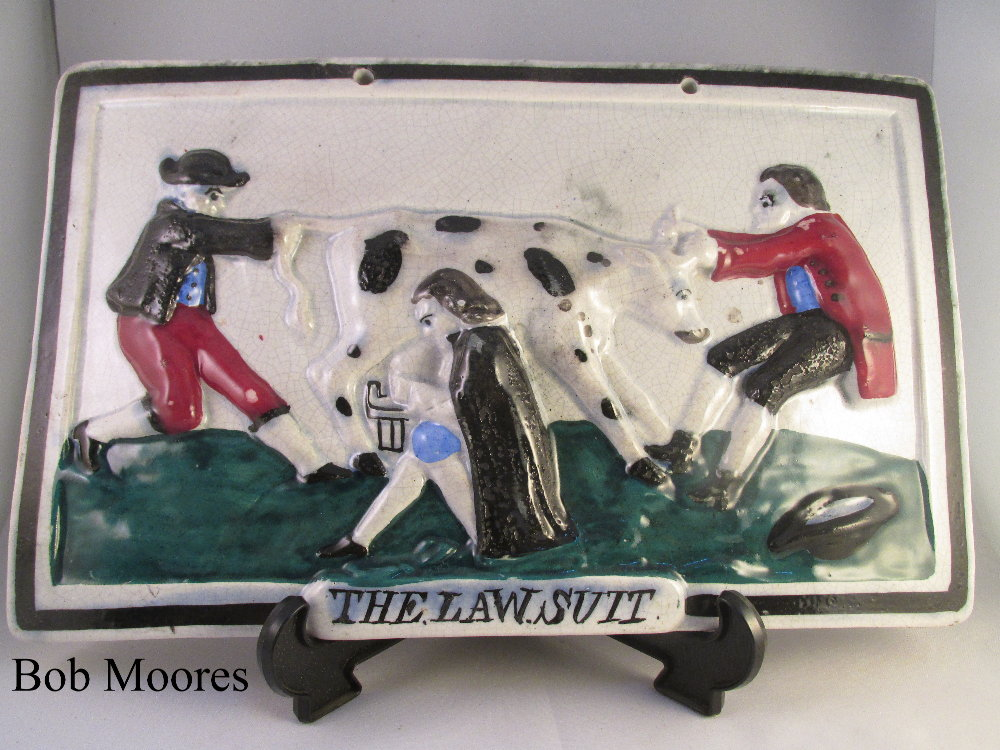 "Large and rare Portobello plaque titled ""The Law.Suit"" Scotland c1820"