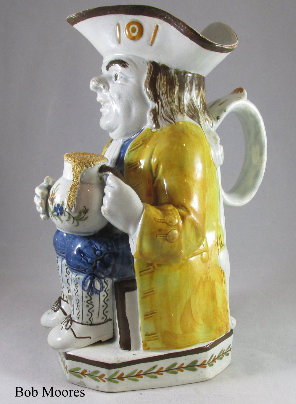 "Fine pearlware Toby jug with ""acorn"" pipe bowl Staffordshire c1780"