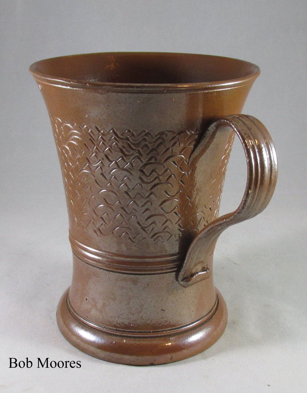 "Nottingham saltglazed stoneware tapered mug c.1800   6 1/4"" tall"