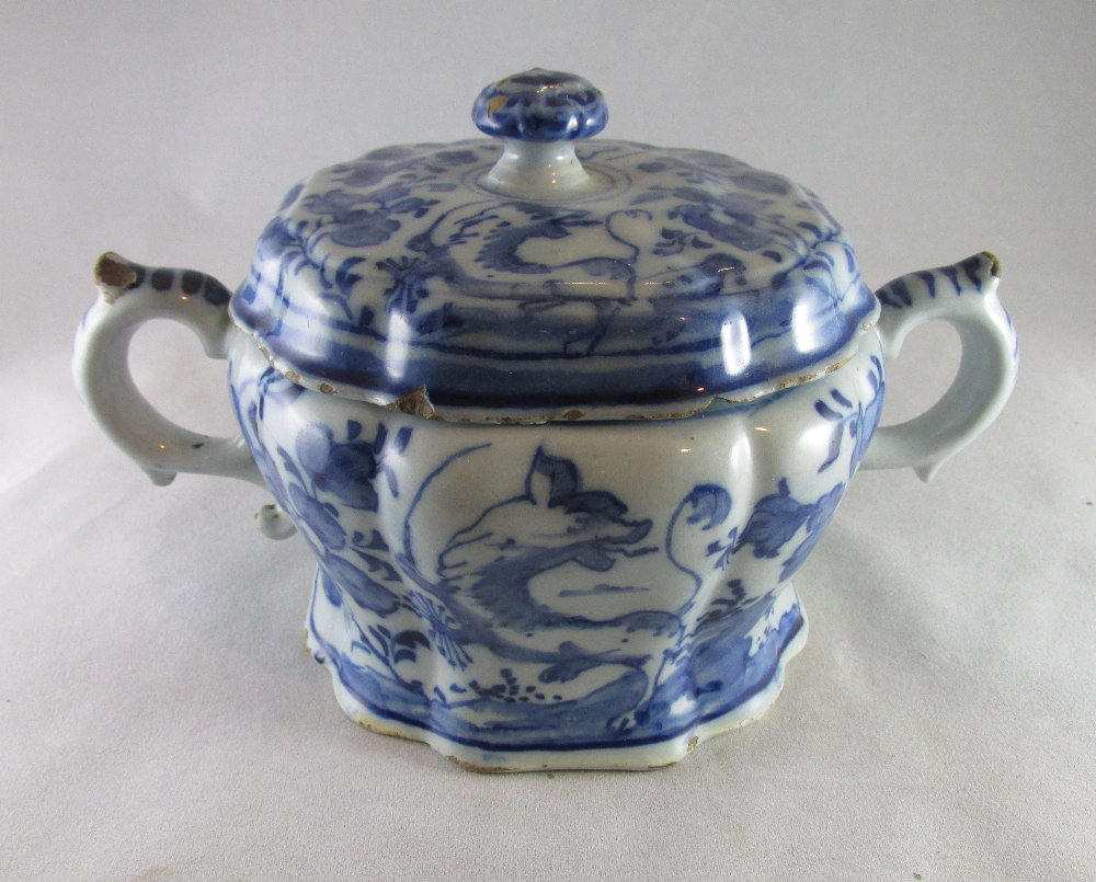 Delft or faience two handled pot with lid c. 1770