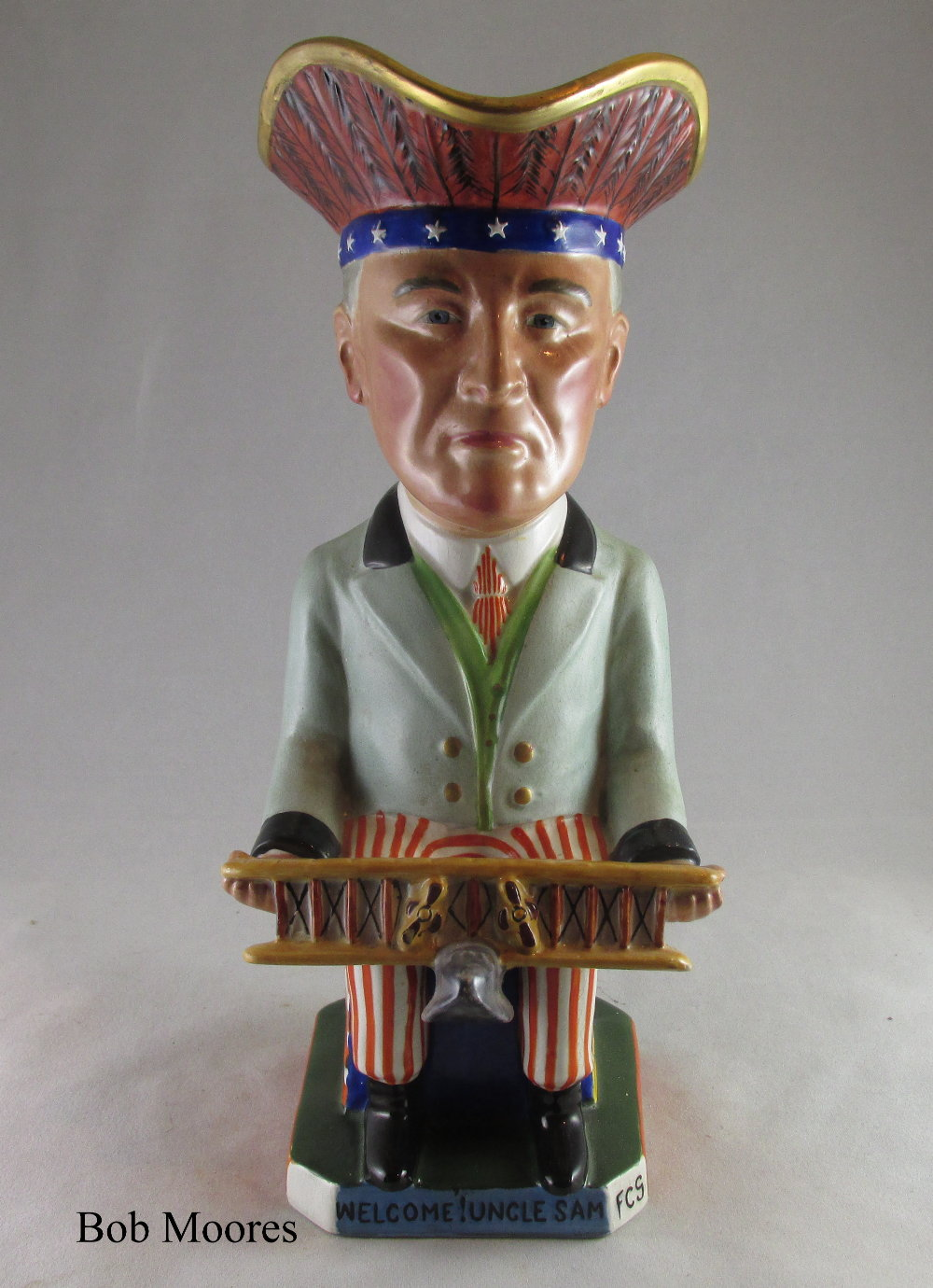 Wilkinson, Carruthers Gould President Wilson Toby jug Staffordshire c.1917