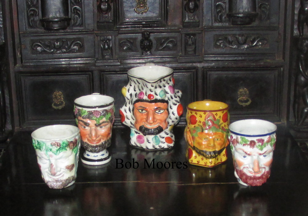 Good collection of 5 Bacchus jugs Staffordshire c1780-1800