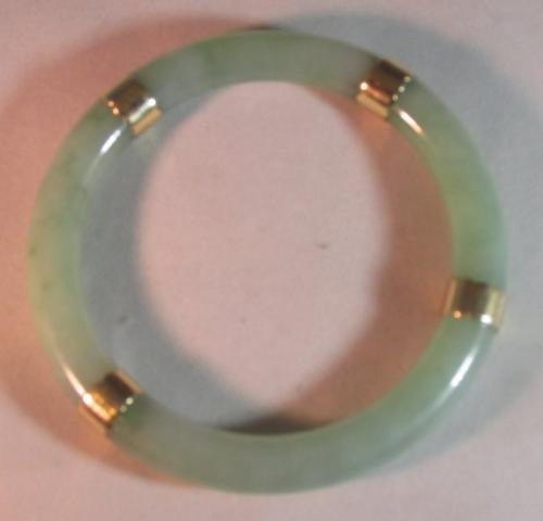 Beautiful Victorian jade and gold bangle