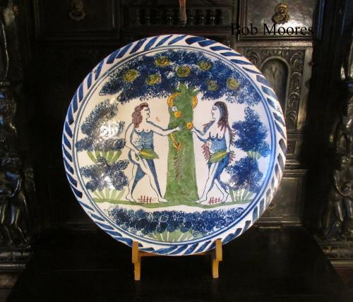 Brislington delft Adam and Eve charger c1690 35.6cm wide
