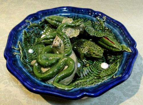 David Henderson. Large dish with snake, toad and a wonderful variety of wildlife