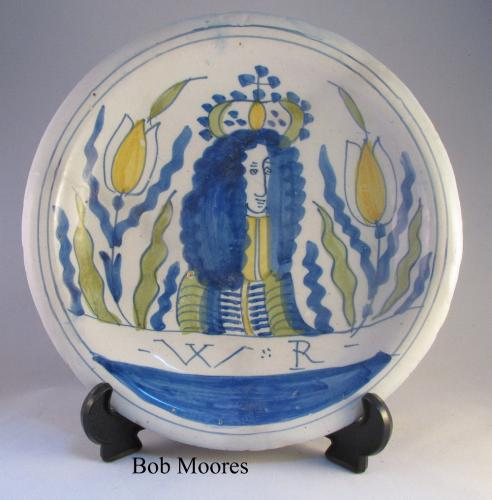 Rare delft polychrome William 111 tulip dish c.1690