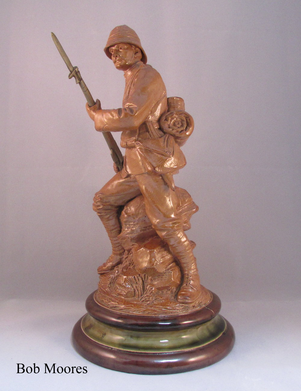 Excellent Royal Doulton saltglazed Boer War soldier  Lambeth c 1901-2