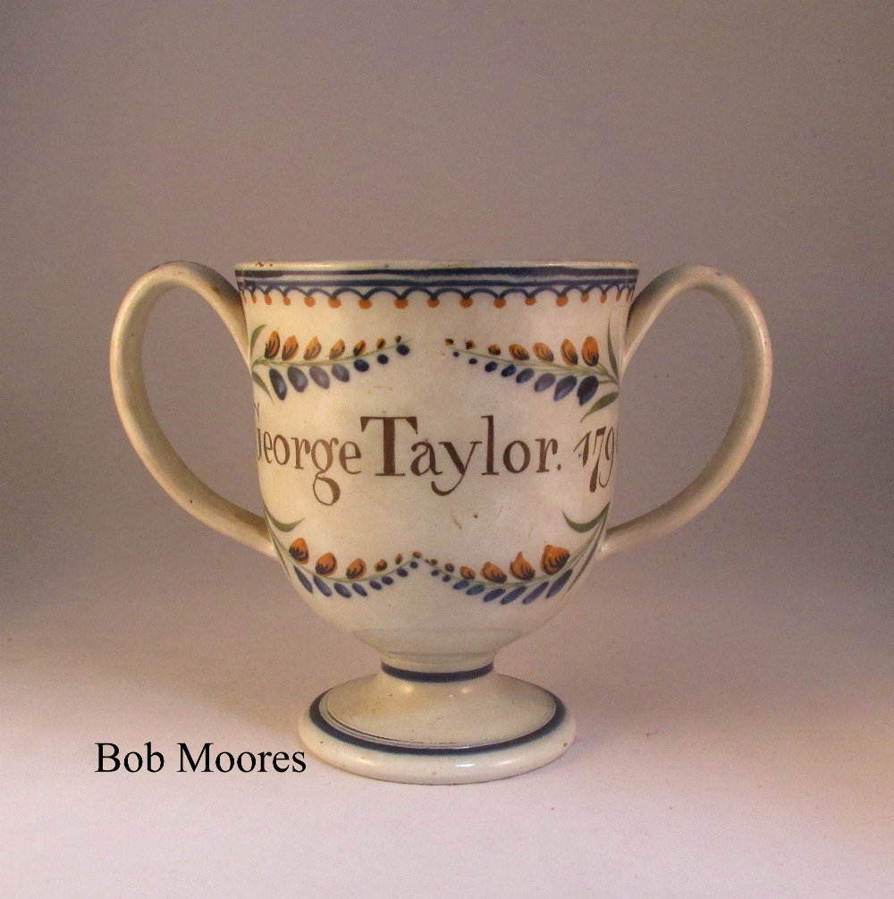 Prattware loving cup for George Taylor 1796