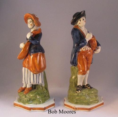 Pair of prattware musicians c.1790