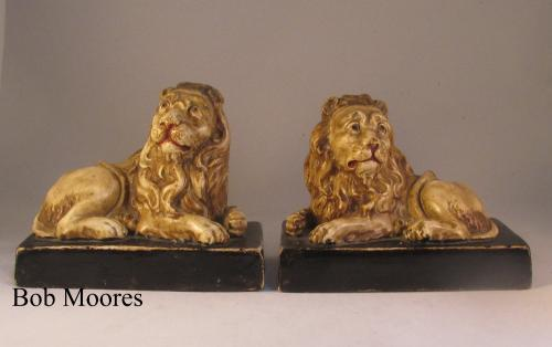 Good pair of Wood and Caldwell lions c1820
